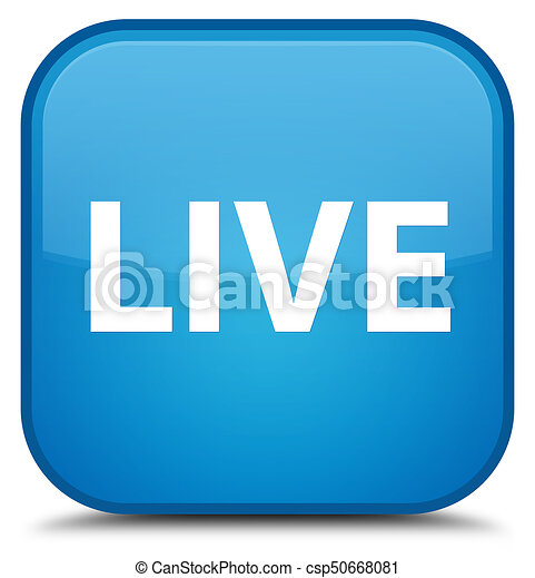 Live special cyan blue square button - csp50668081