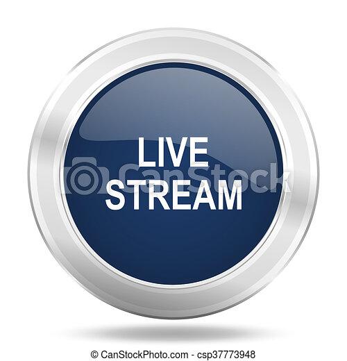live stream icon, dark blue round metallic internet button, web and mobile app illustration - csp37773948