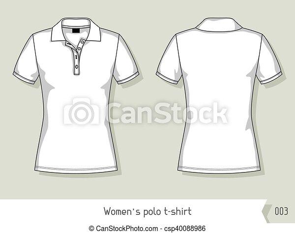 livelli, facilmente, t-shirt., editable, sagoma, polo, disegno, donne - csp40088986
