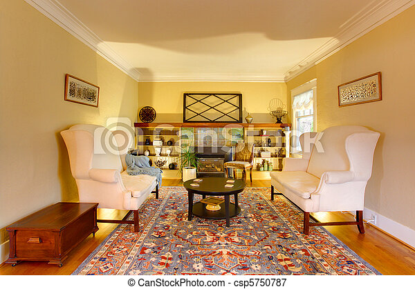 Salón de lividez de oro de lujo con dos sofás blancos - csp5750787
