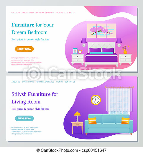 Living Room Bedroom Furniture Web Page Design Template Vector