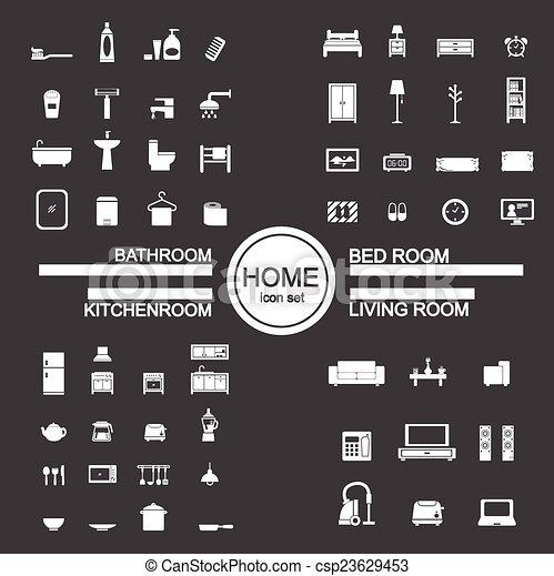 Vector   Living Room , Bedroom , Kitchen, Bathroom Icon Set Part 79