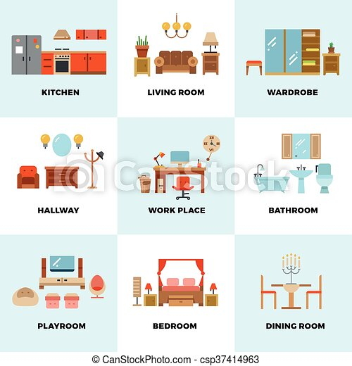 Living Room Bedroom Kitchen Kids Bathroom Dining Work Space Hallway Flat Vector Icons Interior Design Room Types
