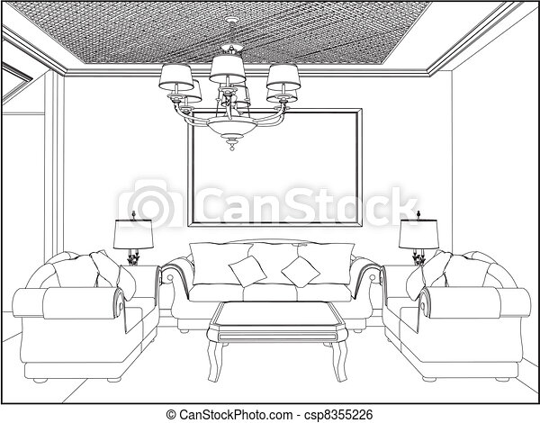 Clip Art Vector Of Living Room Csp8355226