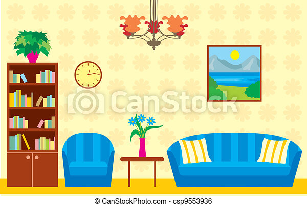 Living Room Vector Illustration Color Full Clip Art