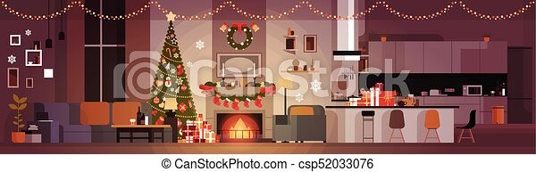 Living Room Decorated For Christmas And New Year Horizontal Banner Pine Tree , Fireplace And Garlands Holidays Home Interior - csp52033076