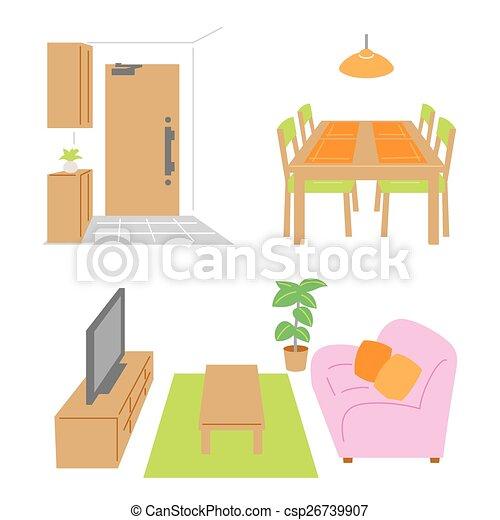 Living Room, Dining Room, Door   Csp26739907
