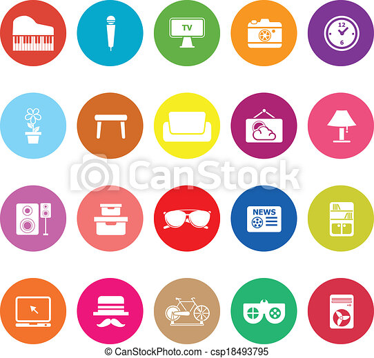 Living room flat icons on white background - csp18493795