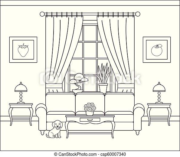 Living Room Flat Line Interior Vector Illustration