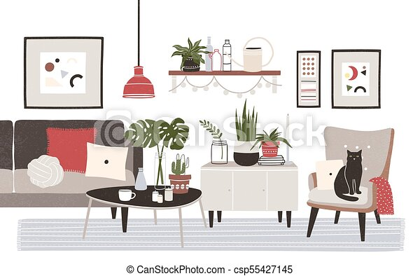 Living Room Full Of Cozy Furniture And Home Decorations   Sofa, Armchair,  Coffee Table, Shelf, Wall