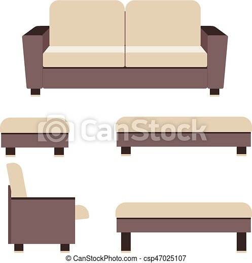 Living Room Furniture Isolated On White Background