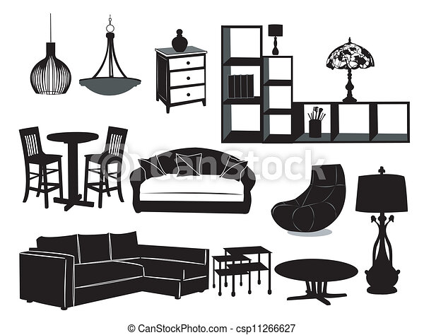 Living Room Furniture Vector Illustration