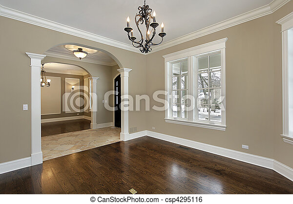Living room in new construction home - csp4295116