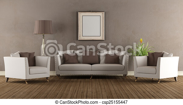 Living Room In Old Style   Csp25155447