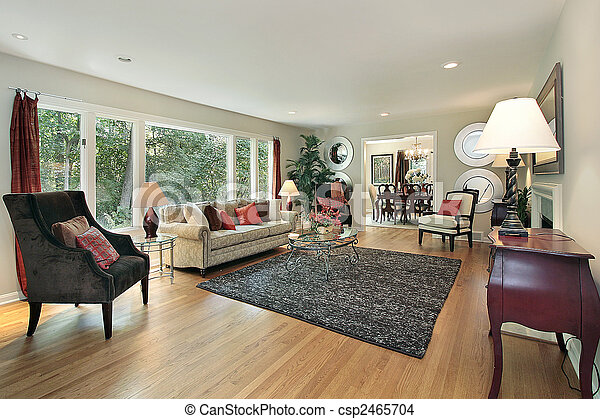 Living room in remodeled home - csp2465704