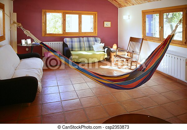 Living Room In Warm Colors, Mexican Hammock Stock Photo