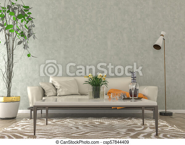 Living Room Interior Empty Wall Background Living Room Interior With Sofa Pillows Orange Plaid And Coffee Table On Light