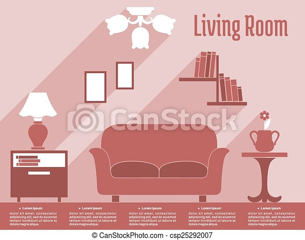 Living room interior flat infographic with text layout. Living room ...