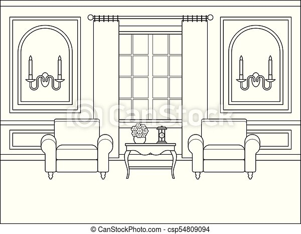 Living Room Interior In Flat Design Linear Vector Illustration