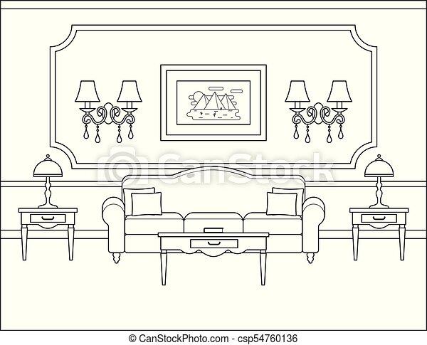 Living Room Interior In Flat Design Outline Vector Illustration