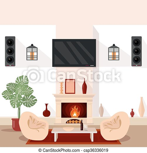 Living Room Interior Modern Interior With Tv And Fireplace Home Interior Vector Illustration