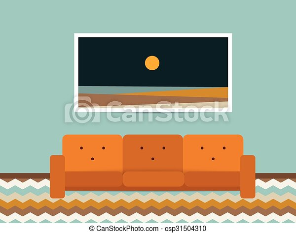 Living Room Interior Retro Style Sofa And Carpet Flat Design