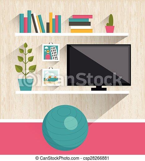Living Room Interior Tv And Book Shelves Flat Design Vector Search Clip Art Illustration