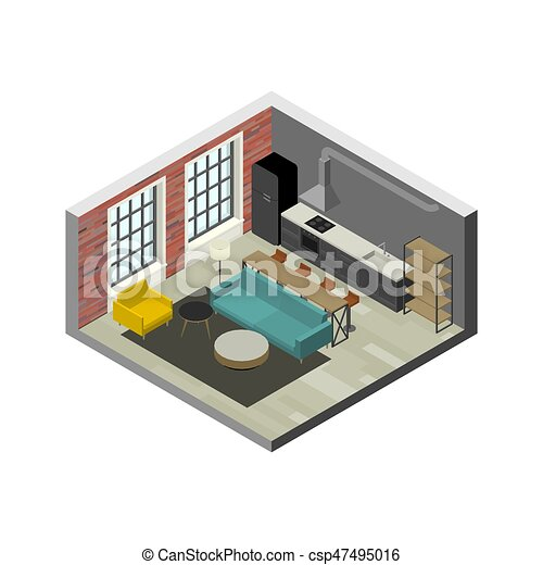 Living Room Interior In Isometric View Illustration Of Loft Apartment With Brick Wall