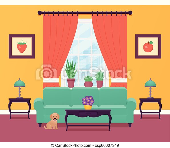 Living Room Interior Vector Illustration Flat Design Living Room Interior Vector Illustration Home Flat Design With Canstock