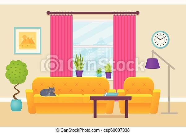 Living Room Interior Vector Illustration Flat Design