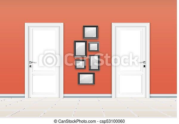 closed door drawing. Brilliant Door Living Room Interior With Closed Door And Empty Frames On The Orange Wall   Csp53100060 Throughout Closed Door Drawing