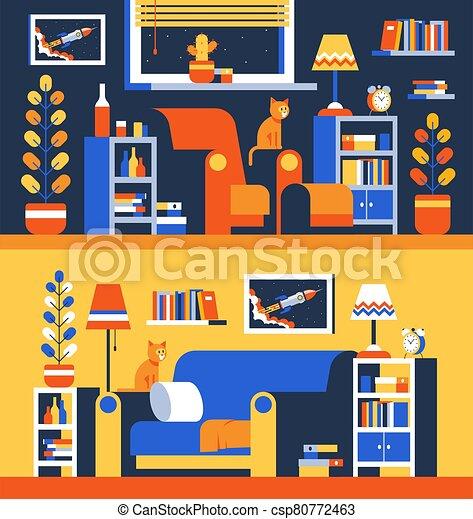 Living room interior with furniture accessories - csp80772463
