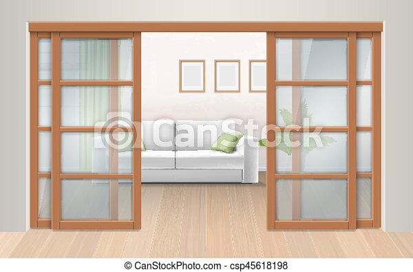 Living Room Interior With Sliding Doors Entrance To The Room From The Corridor Vector Realistic Illustration Canstock