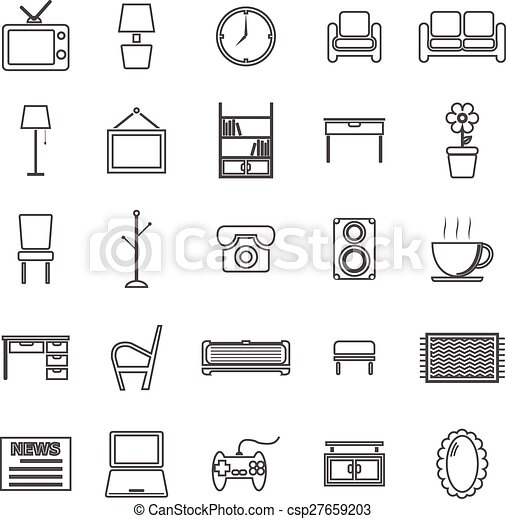 Living Room Line Icons On White Background Vector