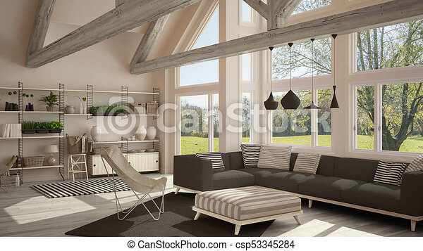 Living Room Of Luxury Eco House Parquet Floor And Wooden Roof Trusses Panoramic Window On Summer Spring Meadow Modern