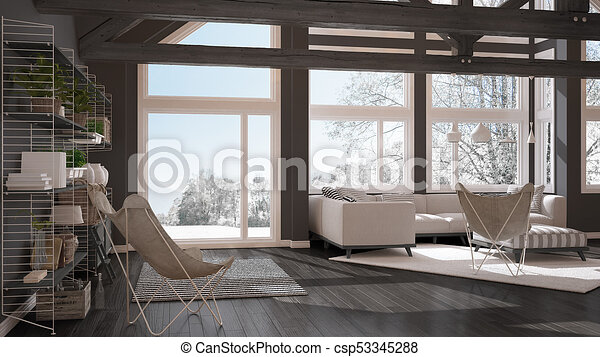 Living Room Of Luxury Eco House Parquet Floor And Wooden Roof Trusses Panoramic Window On Winter Meadow Modern White And