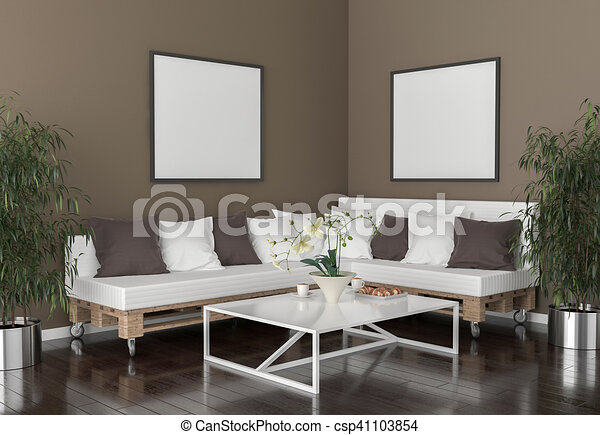 . Living room   on the wall an empty picture frames