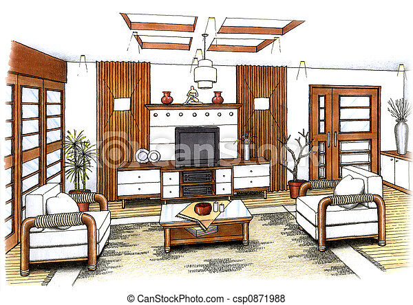 An artist\\\\\\\'s simple sketch of an interior design of a... pictures ...