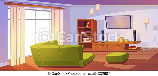 Living Room With Corner Sofa Big Window And Tv Living Room With Corner Sofa Big Window Bookshelves And Tv On Wall Vector Canstock