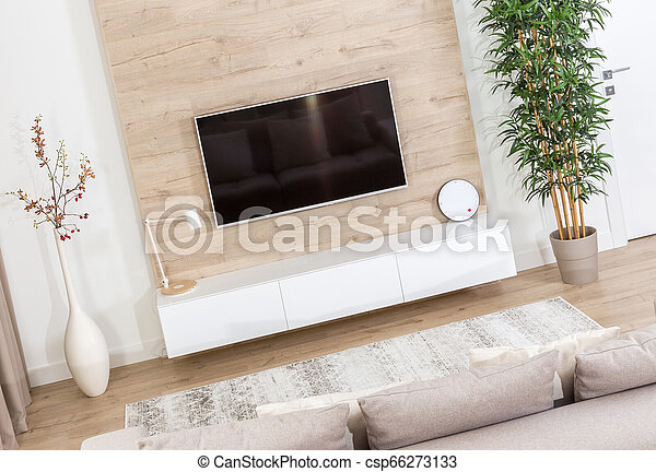 Living Room With Couch And Led Tv On Wooden Wall In Modern Interior Canstock
