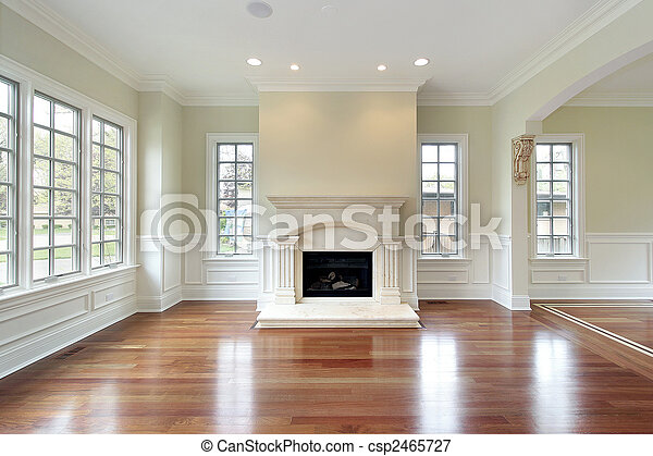 Living room with fireplace - csp2465727