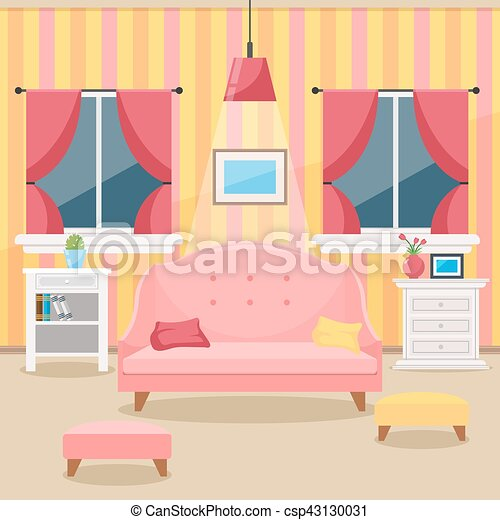 Living room with furniture. cozy interior. flat style... vectors ...