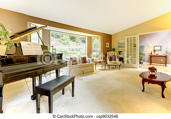 Living Room With Grand Piano   Csp9032546 Part 91