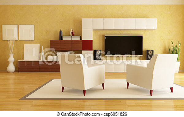 living room with hd tv - csp6051826