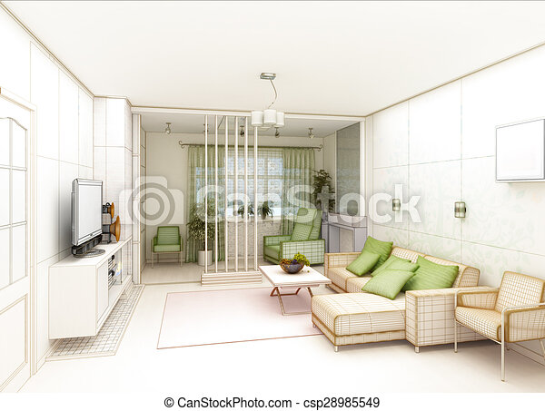 Delightful Living Room With Landscape View, 3D Interior Architecture   Csp28985549