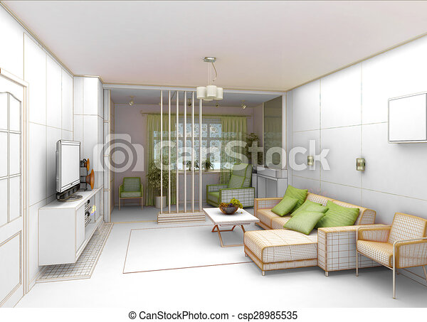 Living Room With Landscape View, 3D Interior Architecture   Csp28985535