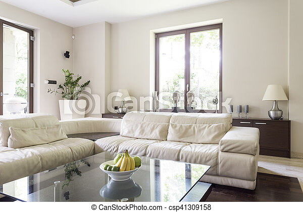 Living room with large corner sofa
