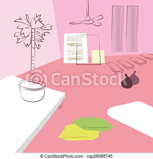 Living room with large potted plant eps vector - Search Clip Art ...
