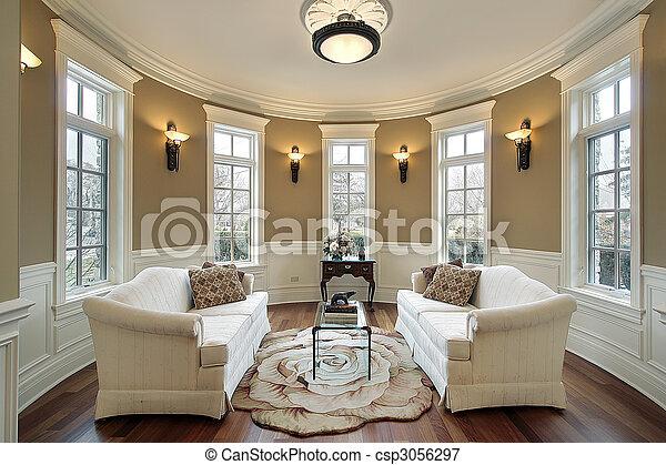 Living room with lighting scones - csp3056297