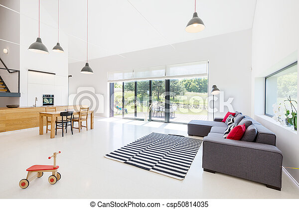 Living room with open kitchen - csp50814035